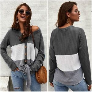 Gray Waffle Knit Colorblock Tie Front Top